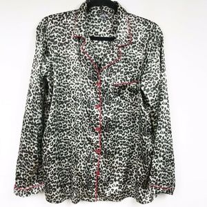 PINK Nightshirt Leopard LS Pocket Red Trim Button